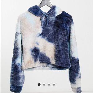 Tie dye Teddy fleece cropped hoodie